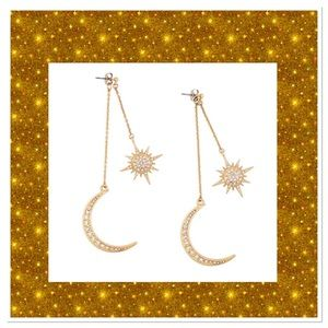 Jewelry - Sun & Moon Rhinestone Earrings